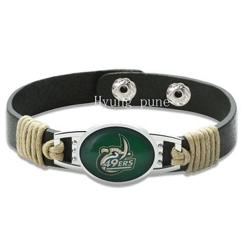 6pcs/lot!North Carolina Charlotte 49ers Adjustable Genuine Leather Bracelet for Men Women Snap Button Charm Leather Cuff Jewelry