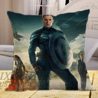 "Captain America The Winter Soldier on square pillow cover 16"" 18"" 20"""