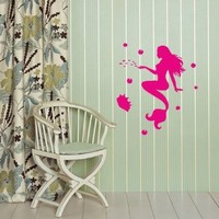 Wall Vinyl Decal Sticker Art Design Beautiful Mermaid Swim with Fish Room Nice Picture Decor Hall Wall Chu409