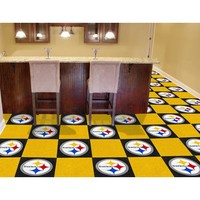 Fan Mats 8545 NFL Pittsburgh Steelers 18-Inch Carpet Tiles - (In Square)