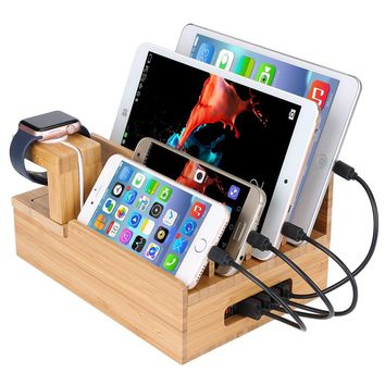 InkoTimes Bamboo Charging Station Dock Organizer for Apple Watch, iPhone, iPad, Universal Cell Phones and Tablets, Compatible with Anker, RAVPower, 4/5/6-Port USB Charger (But NOT Included)