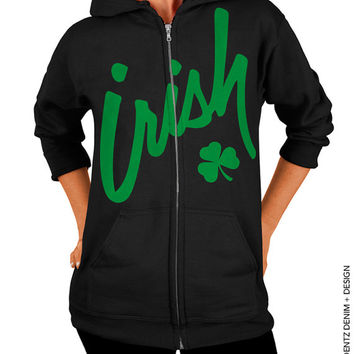 Irish Clover - St. Patrick's Day - BLACK Zip Up Hoodie - Hooded Sweatshirt