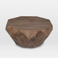 Reclaimed Wood Faceted Coffee Table
