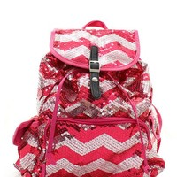Sequin Chevron Stripe Backpack Handbag