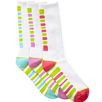 Copper Key 3 Pack White Sport Crew Socks - Multi