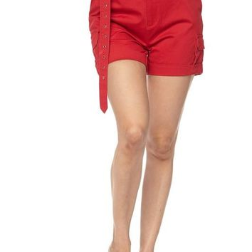 G Eazy Cargo Shorts with Belt Red