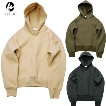 HZIJUE quality nice hip hop hoodies with fleece WARM winter mens Justin Biebe hoodie sweatshirt swag solid Olive pullover