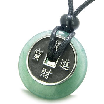 Amulet Lucky Coin Charm Donut Green Quartz Antiqued Pendant Necklace