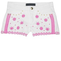 White Embroidered Denim Shorts by Juicy Couture,