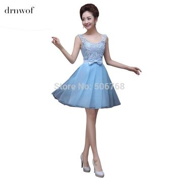 2017 O-neck Cheap Junior Bridesmaid Dresses Sleeveless Double Shoulder Short Women Party Prom Dress Light Blue Lavender Pink