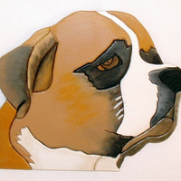Wood Sculpture Dog, St Bernard. This is a Wall Hanging. Intarsia is the process used to make it.