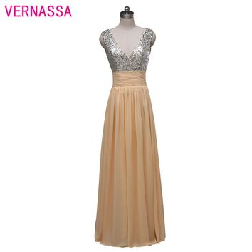 Real Sample A line V neck Floor length long Sexy Prom Dresses Chiffon Sequins Elegant Long Prom Dress 2017
