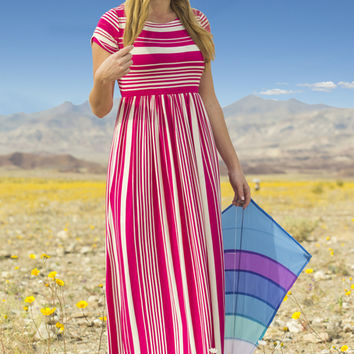 Sara Jersey Striped Maxi Dress Pink