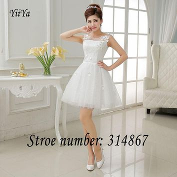 Free shipping new 2017 design Pluse size romantic O-neck Sleeveless White Short Bridesmaid Dresses Frocks Gowns LF237
