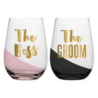 "SLANT COLLECTIONS ""THE BOSS, THE GROOM"" STEMLESS WINE GLASS SET OF 2"