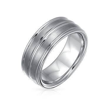 Wide Double Grooved Brushed Matte Wedding Band Tungsten Rings 8mm