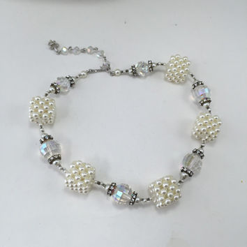 Vendome Choker Necklace Faceted Crystal Glass Beads Rhinestone Rondelles Cube Pearls Vintage
