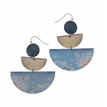 Nakamol Geometric Shapes Blue Drop Earrings