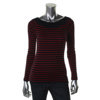 Ralph Lauren Womens Ribbed Knit Striped Casual Top