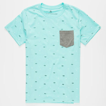 Shouthouse Geo Banks Boys Pocket Tee Mint  In Sizes