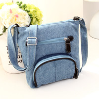 Casual Blue Denim Crossbody Purse Small Shoulder Bag