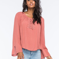 Living Doll Crochet Womens Peasant Top Coral  In Sizes
