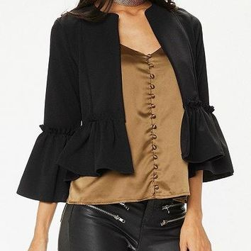 Black Open Front Ruched Trim Flare Sleeve Coat