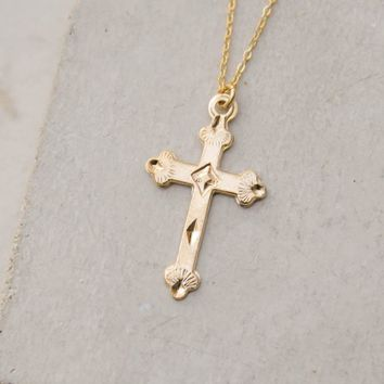 XL Cross Charm Necklace - Gold