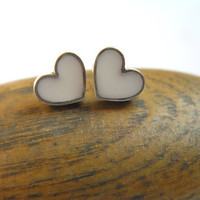 Silver Earrings  White Heart Studs  Sterling by DaliaShamirJewelry