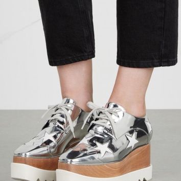 Stella McCartney Elyse silver star flatforms