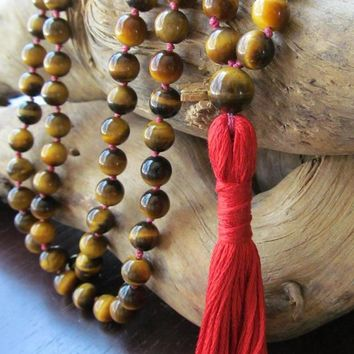 Tiger Eye Necklace 108 Bead Mala Necklace Tassel Necklaces Yoga Jewelry Japa Mala Prayer Beads Meditation Knotted Necklaces