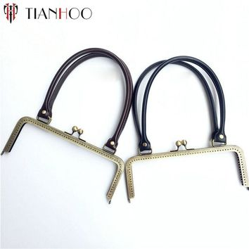 TIANHOO 24cm Metal Clasp for Handbag Lock Sew in Purse Frame Replacement PU Handle for DIY Clutch Bag Parts Accessories Hardware
