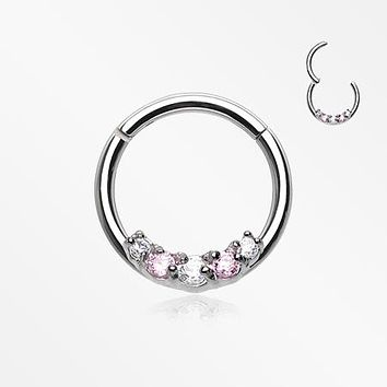 Dainty Sparkle 5 Gems Segment Clicker Ring