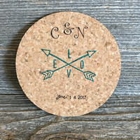 Crossing Arrows Coasters, Wedding Favors, Personalized Coasters, Stamped Coasters, Absorbent Cork Coasters, Coffee Gift Idea, Custom Gift