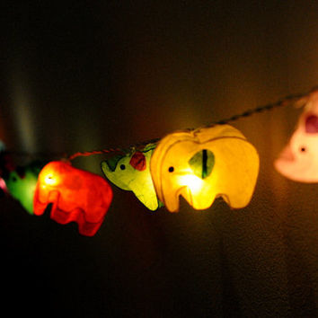 handmade elephant paper string light lantern mix color yellow, red , blue , green decoration kid bedroom