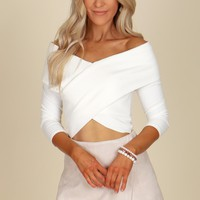 Off The Shoulder Ribbed Cross Top Off White
