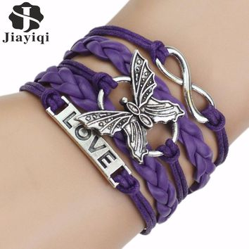 2017 New Arrival 4 Colors Leather Love Bracelets for Women Men Fashion Silver Butterfly Bracelets & Bangles Charm Bracelet
