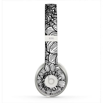 The White and Black Flower Illustration Skin for the Beats by Dre Solo 2 Headphones