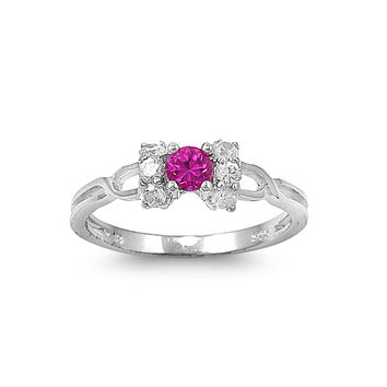 925 Sterling Silver CZ Promise Simulated Ruby Ring 6MM