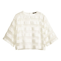 H&M - Wide-cut Blouse - White - Ladies