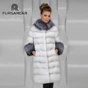 FURSARCAR Luxury 100% Real Fur Coat Women Mink Fur Coat Silver Fox Fur Collar Women's Fur Coat Female Jacket Mink Coat