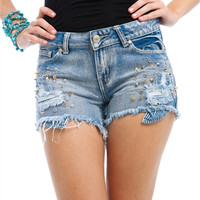 Denim Spike Shorts