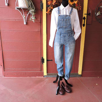 Vintage 90s Overalls / size XXS / lightwash faded overall skinny jeans / Old Navy / bib overalls / denim over all jeans