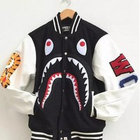 Men's Japan Bape Shark Jaw Design Pattern Jacket