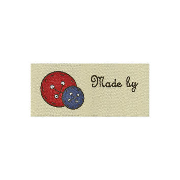 Labels, Made by, 2 per pkg, woven labels, pre made labels for sewing, crafts and quilting