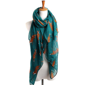 Turquoise Fox Printed Voile Scarf