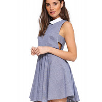 Sleeveless Pointed Flat Collar Pleated A-Line Mini Dress