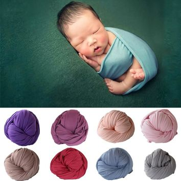 50*150cm Stretch Cotton Baby Blanket Newborn Photo Props Photography Wraps Swaddle Muslin Wraps Infant Photography Props