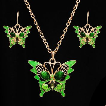 Hollow Out Butterfly with Big Beads Pendant Necklace+Drop Earring High Quality Retro Turkish Style Jewelry Set Gift for Women
