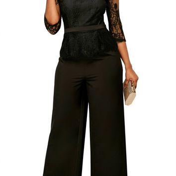 Black Lace Peplum Top Wide Leg Jumpsuit